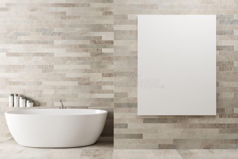 Witte houten badkamers, affiche, ton stock illustratie