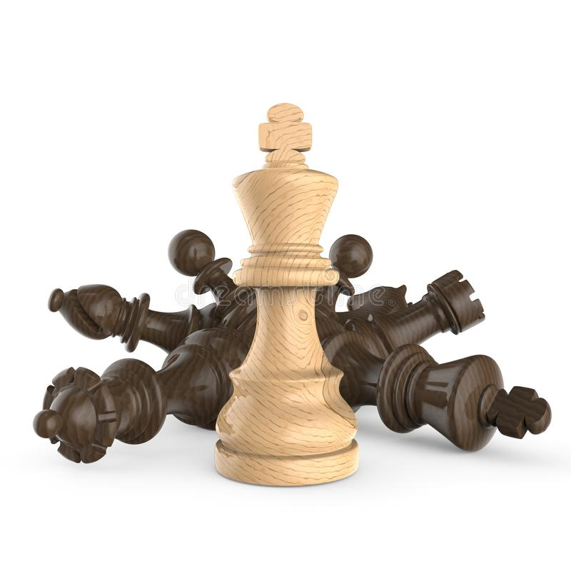 Witte houten koning die zich meer dan gevallen houten zwarte schaakstukken bevinden stock illustratie