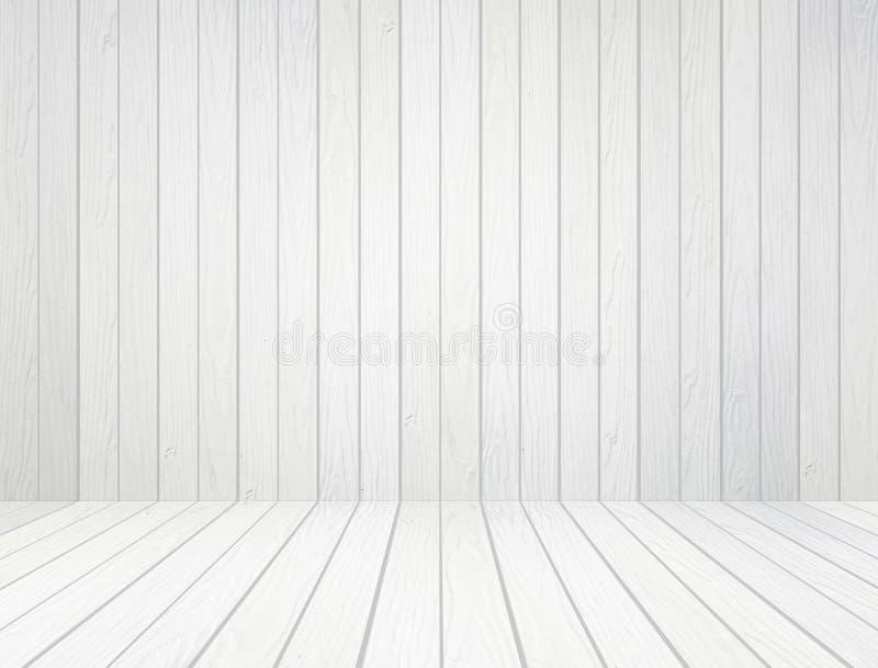 Witte houten muur en houten vloerachtergrond royalty-vrije stock foto