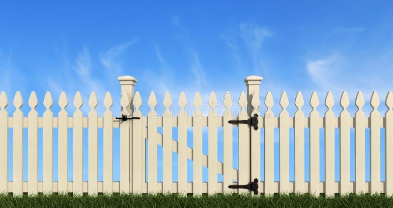 Witte houten omheining stock illustratie