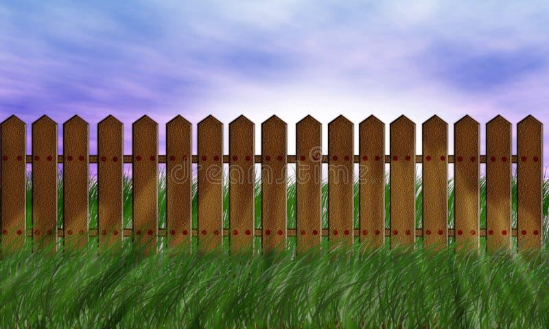 Witte houten omheining op groen gras tegen van de blauwe hemel vector illustratie