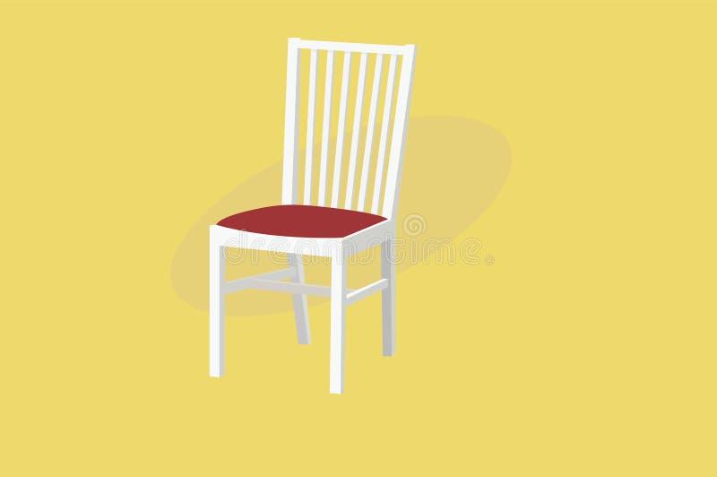 Witte Houten Stoel met Rode Stoffering Vector ge?soleerde Illustratie vector illustratie