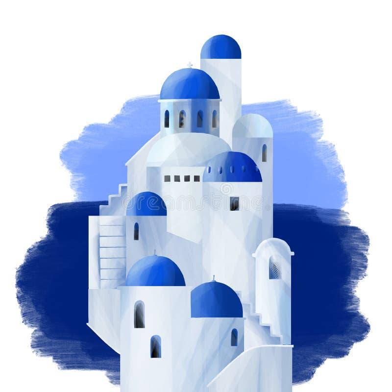 Witte huizen met blauwe overkoepelde daken royalty-vrije illustratie