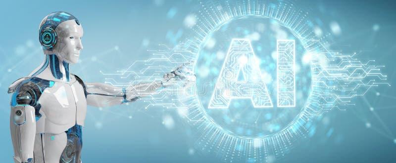 Witte humanoid gebruikend digitaal kunstmatige intelligentiepictogram hologr stock illustratie
