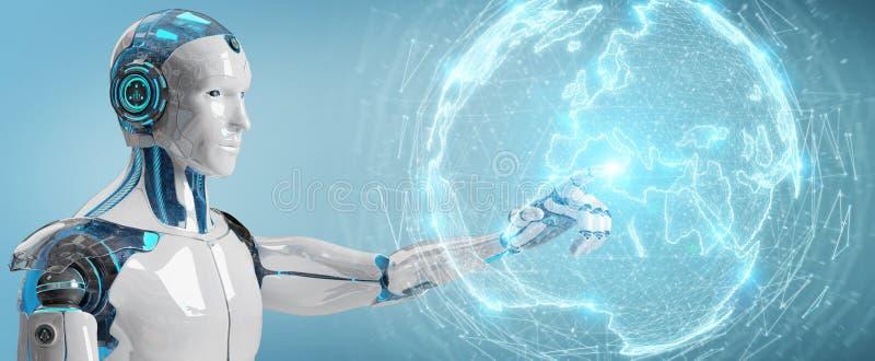 Witte humanoid gebruikend het hologram van het bolnetwerk met de kaart 3D r van Europa vector illustratie
