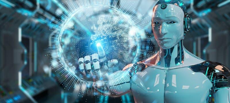 Witte humanoid gebruikend het hologram van het bolnetwerk met de kaart 3D r van Europa stock illustratie