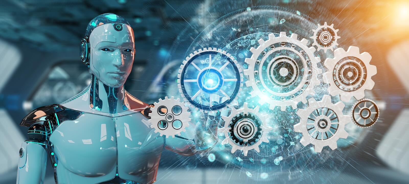 Witte humanoidrobot die het digitale toestellen 3D teruggeven gebruiken royalty-vrije illustratie