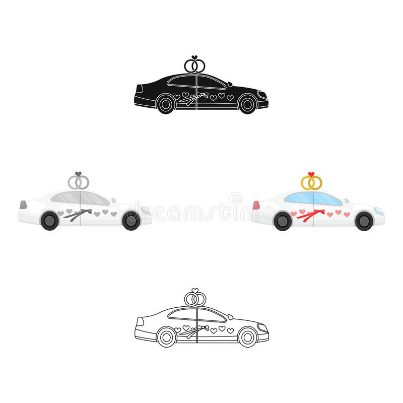Witte huwelijksauto met ringen Auto voor de bruid en de bruidegom Huwelijks enig pictogram in beeldverhaal, zwart stijl vectorsym royalty-vrije illustratie