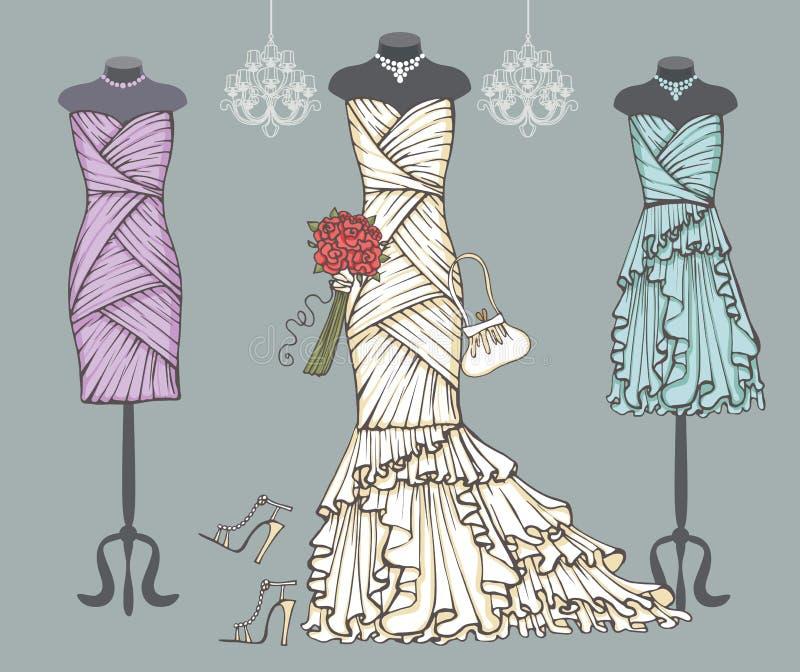 Witte huwelijkskleding, bruidsmeisjekleding Bruids reeks royalty-vrije illustratie