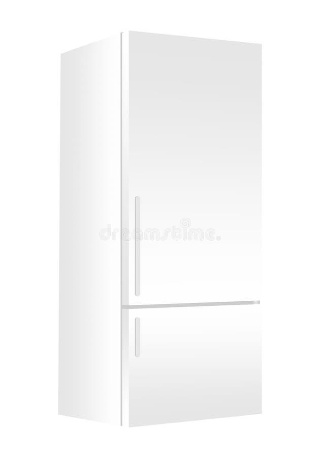 Witte ijskast met diepvriezer op witte achtergrond Moderne 3d koelkast met deur Het elektrische apparaat van de huiskeuken vector illustratie