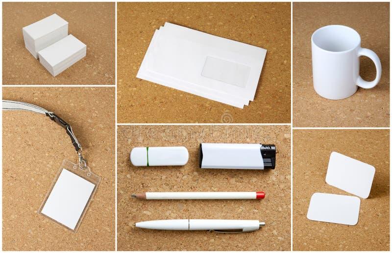Witte inzameling van kantoorbehoeften op corkboardachtergrond royalty-vrije stock afbeelding