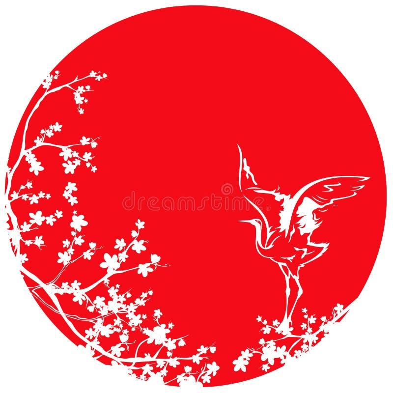 Witte Japanse kraan en sakuraboom tegen rode zon vectordesi stock illustratie