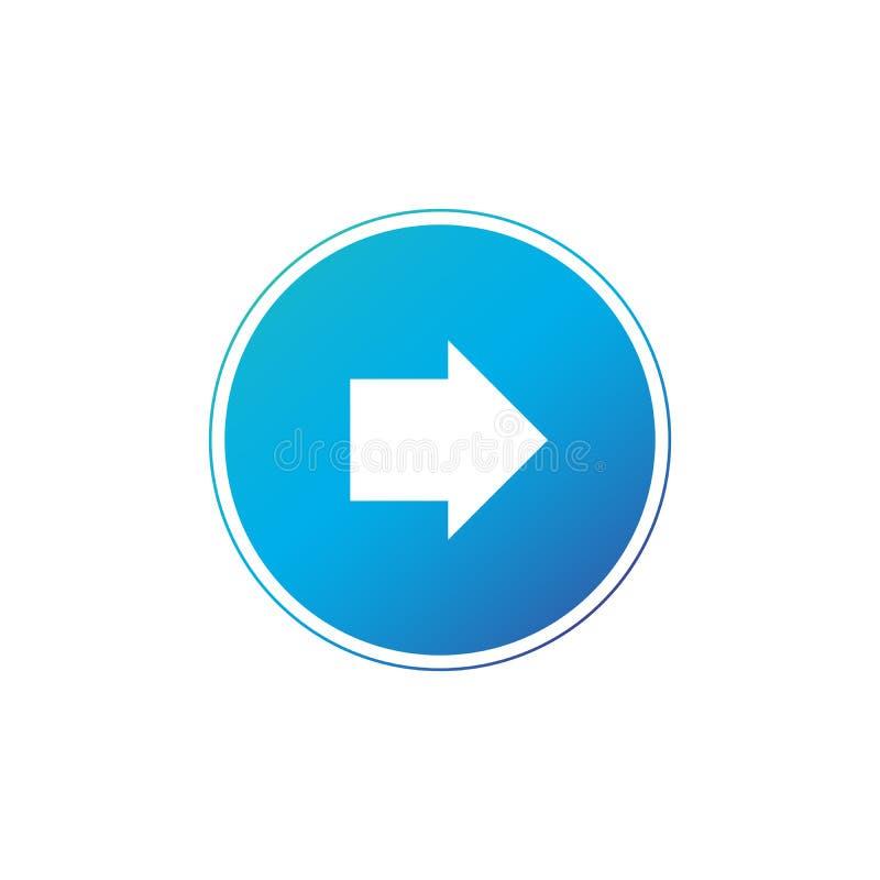 Witte juiste rond gemaakte pijl met in blauw cirkelpictogram Geïsoleerd op wit Zet pictogram voort Volgende teken De pijl van het royalty-vrije illustratie
