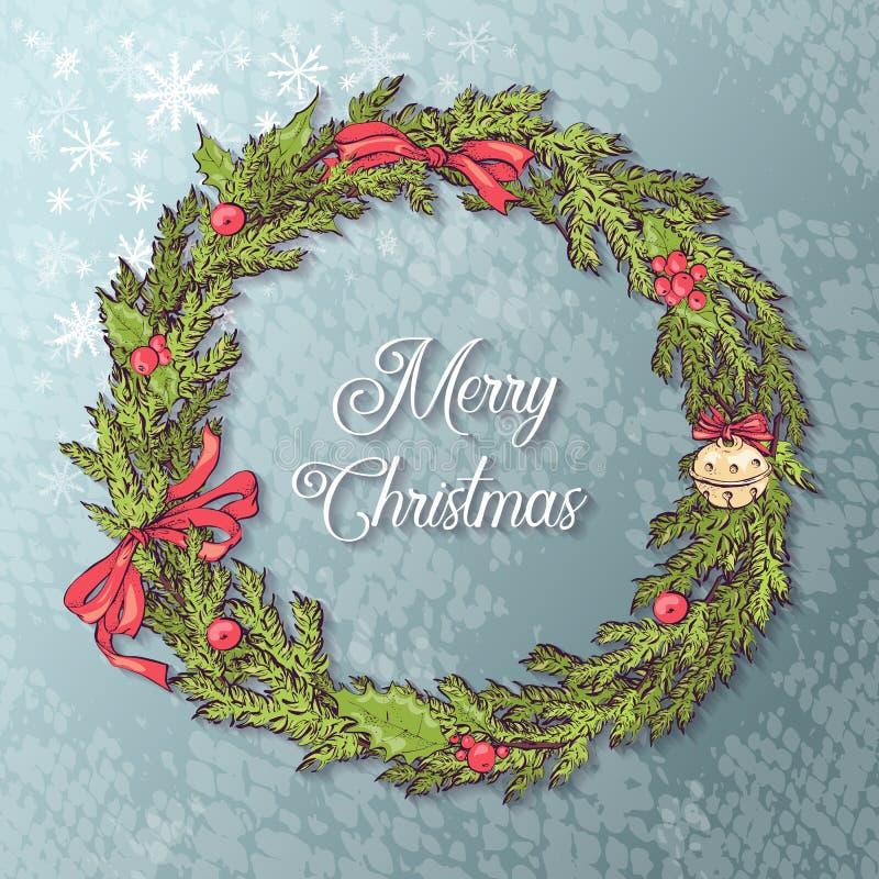 Witte kaart met Kerstmiskroon en boog Vector illustratie royalty-vrije illustratie