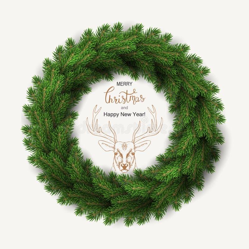 Witte kaart met Kerstmiskroon Vector illustratie vector illustratie