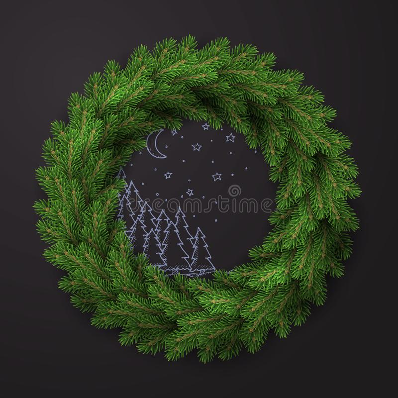 Witte kaart met Kerstmiskroon Vector illustratie royalty-vrije illustratie