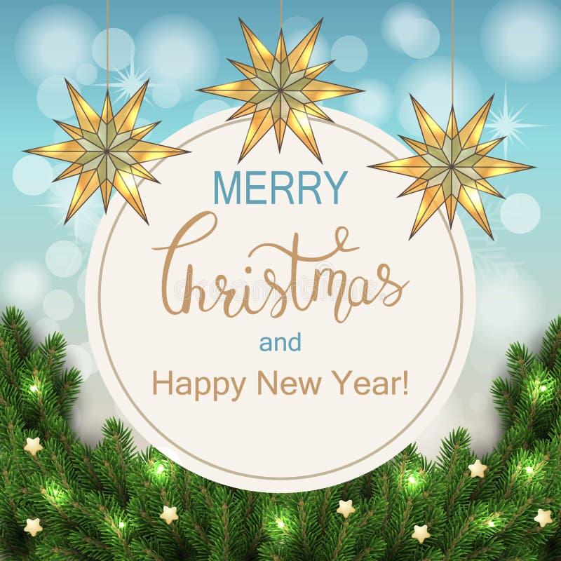 Witte kaart met Kerstmiskroon Vector illustratie stock illustratie