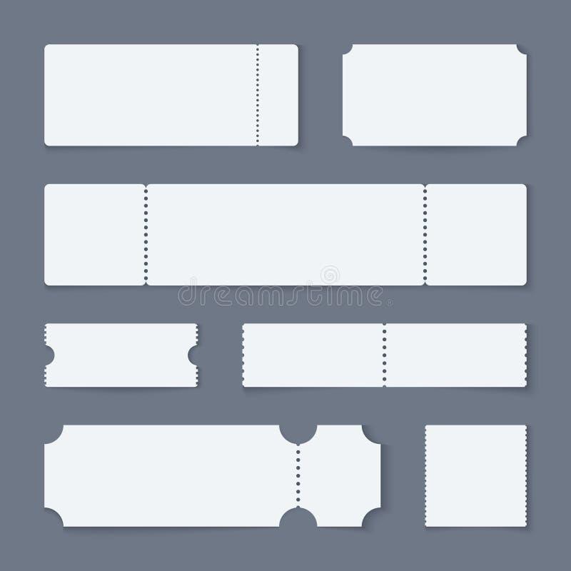 Witte kaartjesmodellen Het document van het overlegtheater de kaartjes, lege lege film laten coupons één toe Loterij geïsoleerde  vector illustratie