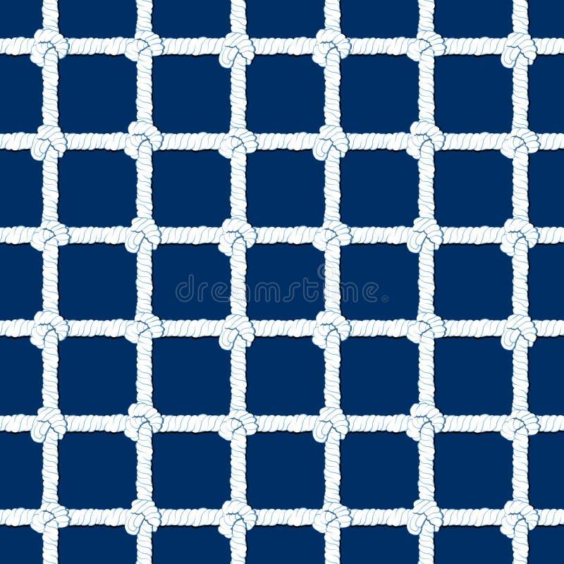 Witte kabel met knopen naadloos patroon op marineblauwe achtergrond Mariene eindeloze gestreepte illustratie met lijnornament stock illustratie