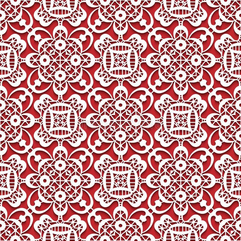 Witte kanttextuur op rood, naadloos kantpatroon vector illustratie