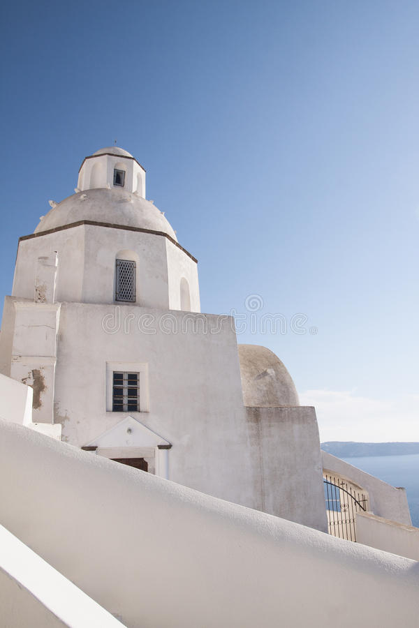 Witte Kapel Santorini stock foto