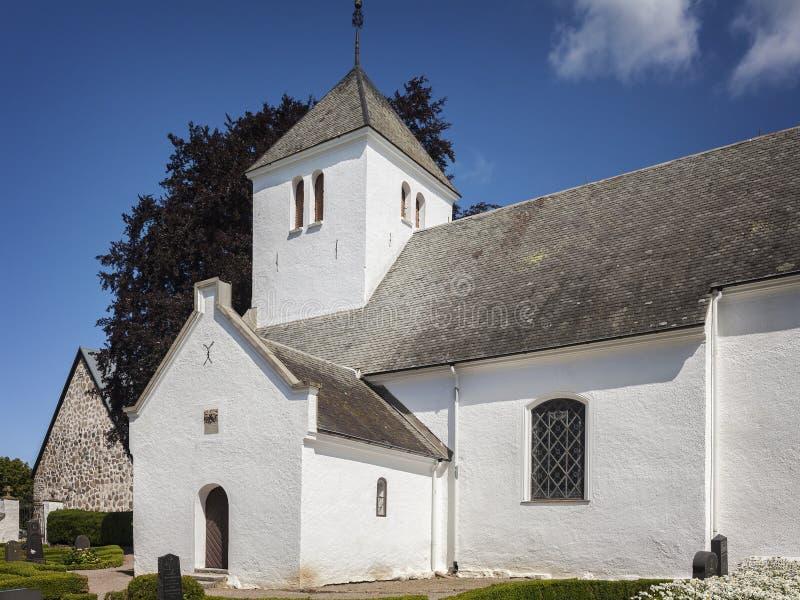 Witte kapel in Tosterup Zweden royalty-vrije stock fotografie