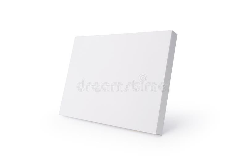 Witte kartondoos op ge?soleerde achtergrond met het knippen van weg Dun cardboxpakket voor uw ontwerp stock afbeeldingen