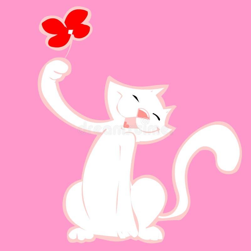 Witte kat stock illustratie