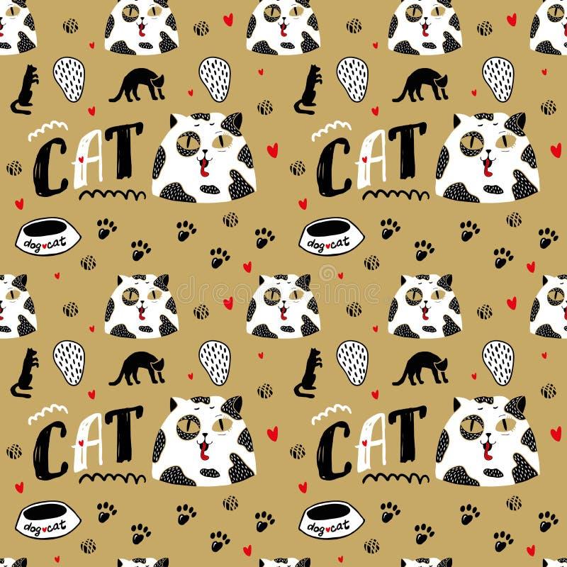 Witte Kat Met Zwarte Vlekken En Grote Ogen Naadloos Patroon Met