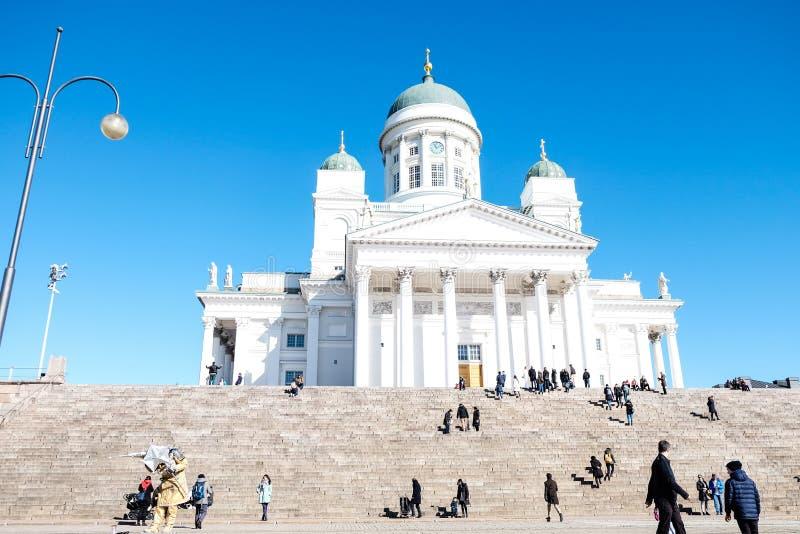 Witte Kathedraal in Helsinki, Finland stock foto