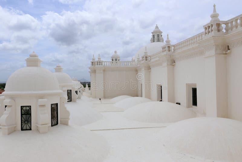 Witte Kathedraal in Leon, Nicaragua stock afbeelding