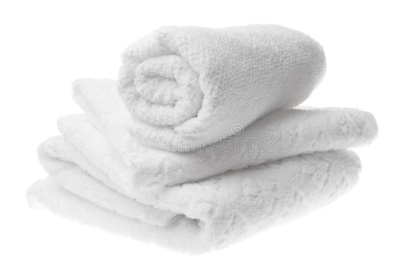 Witte katoenen handdoekenstapel stock foto's