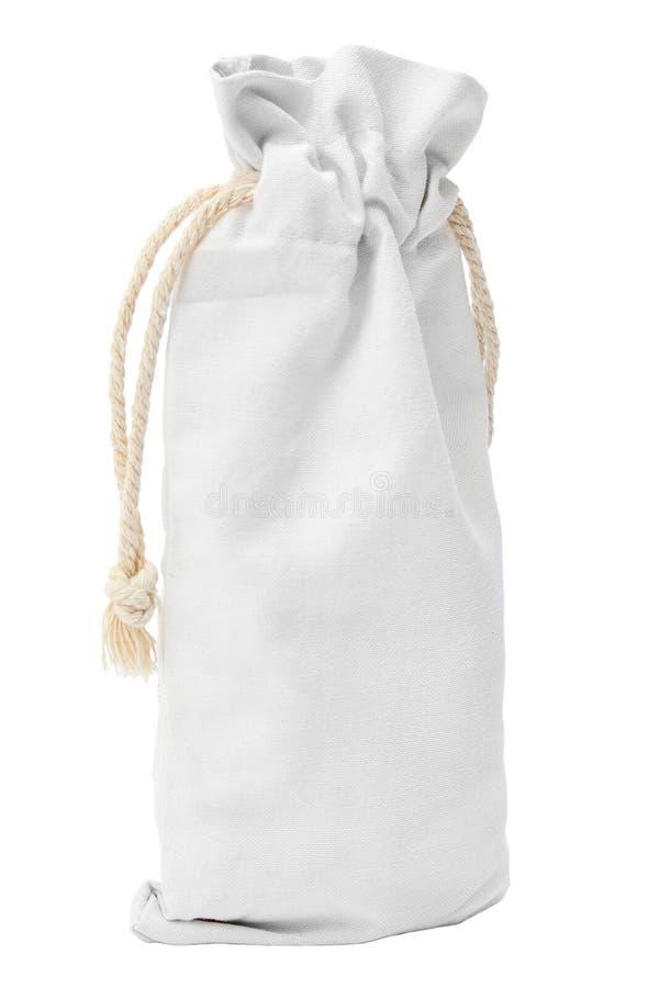 Witte katoenen zak die op witte achtergrond wordt geïsoleerdr royalty-vrije stock fotografie