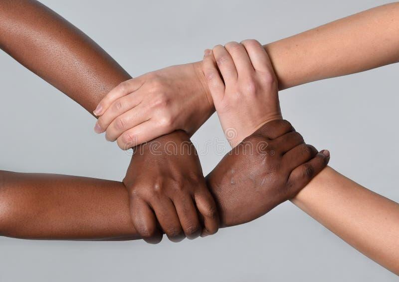 Witte Kaukasische vrouwelijke en zwarte Afrikaanse Amerikaanse handen die tegen racisme en vreemdelingenhaat samenhouden royalty-vrije stock afbeeldingen
