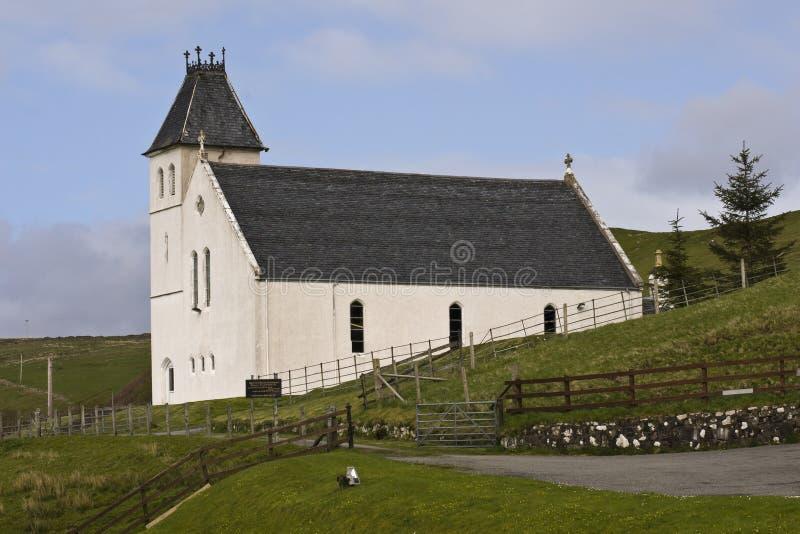 Witte kerk, Uig, Eiland van Skye, Schotland. royalty-vrije stock afbeeldingen