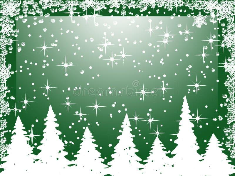 Witte Kerstbomen met sneeuwvlokken op groen royalty-vrije illustratie