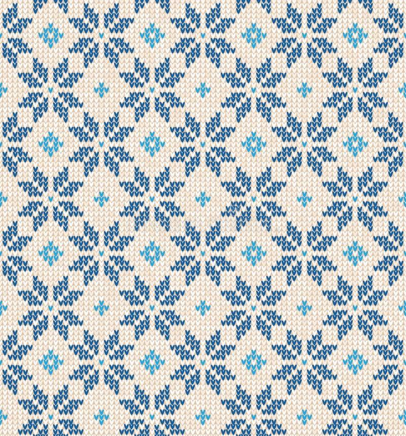 Witte Kerstmis Skandinavische vlakke stijl en gebreid blauw seamles stock illustratie