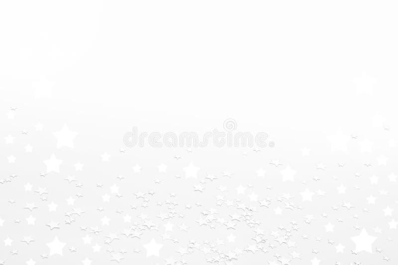 Witte Kerstmisachtergrond met sterren royalty-vrije stock afbeelding