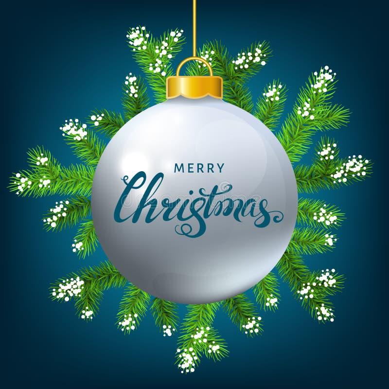 Witte Kerstmisbal met nette tak, sneeuw en het van letters voorzien royalty-vrije illustratie