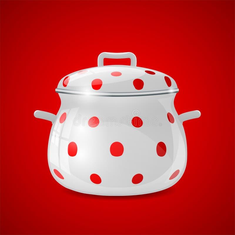 Witte keukenpot met rode punten stock foto afbeelding 33053390 - Aardewerk rode keuken ...