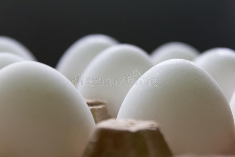 Witte kippeneieren in het close-up van de kartondoos in afwachting van Pasen stock fotografie