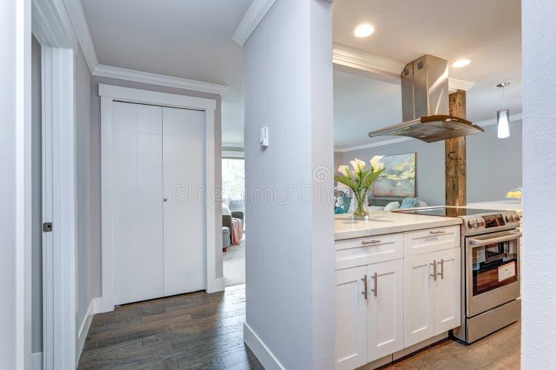 Witte kleine keuken in moderne flat stock foto