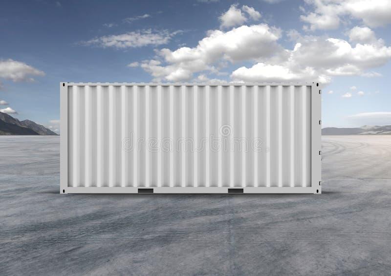 Witte kleur container het 3d teruggeven Grijze wolken royalty-vrije stock fotografie