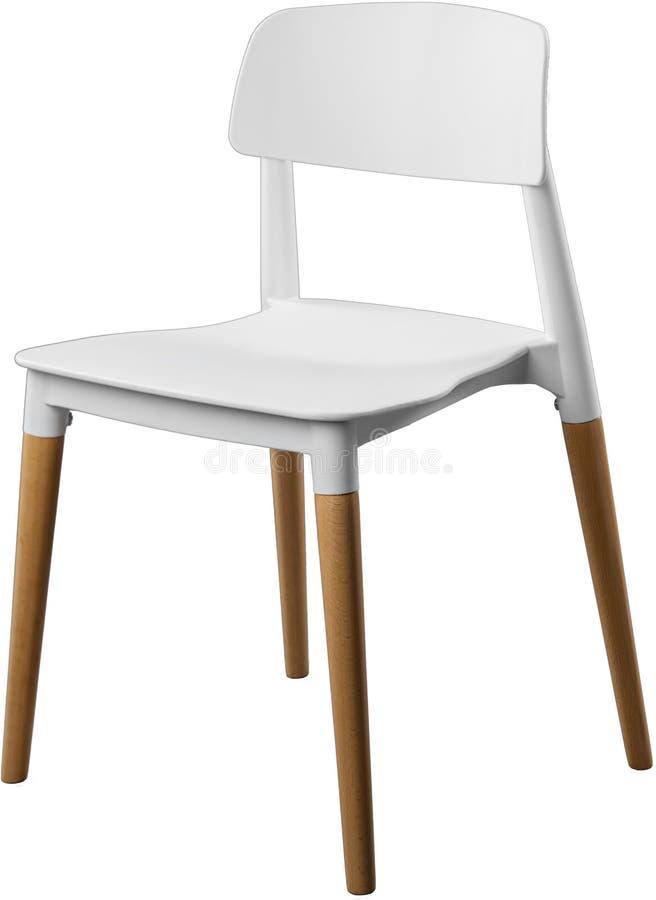 Witte kleuren plastic stoel, moderne ontwerper Stoel op houten die benen op witte achtergrond worden geïsoleerd Meubilair en binn stock fotografie