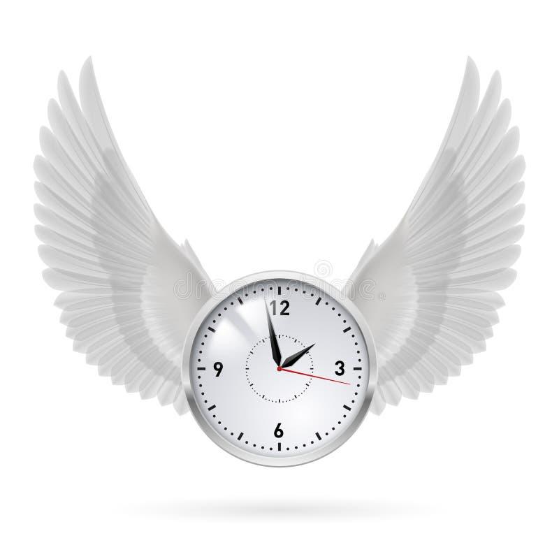 Witte klok met witte vleugels royalty-vrije illustratie