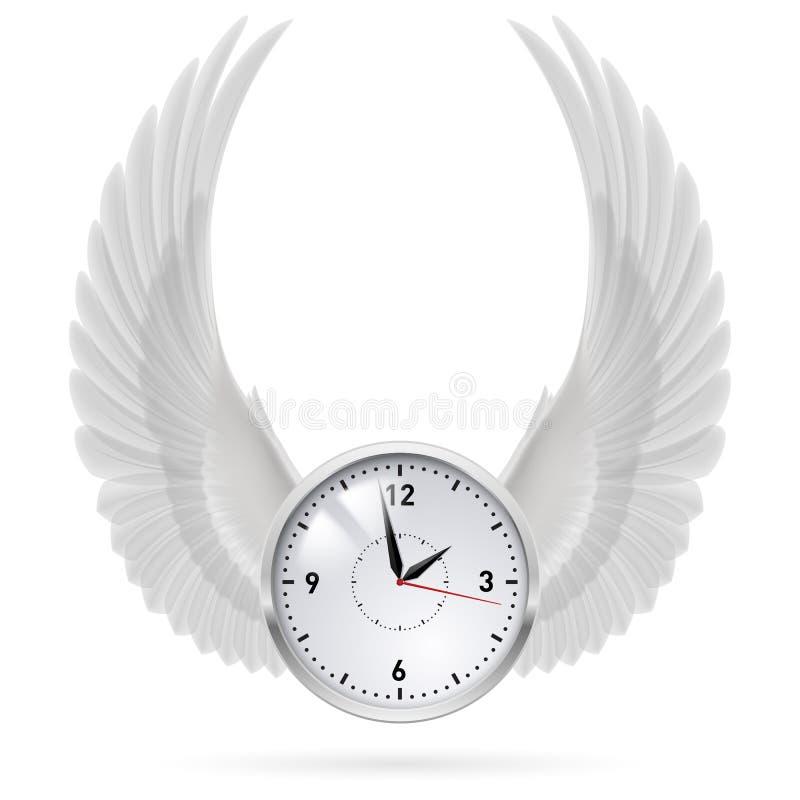 Witte klok Witte Vleugels stock illustratie