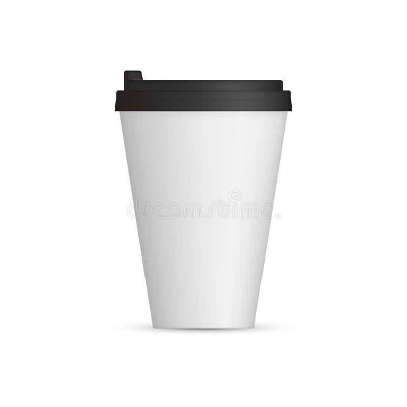 Witte Koffieglb spot omhoog Leeg mokmalplaatje met ruimte voor embleem of tekst Vector illustratie die op witte achtergrond wordt stock illustratie