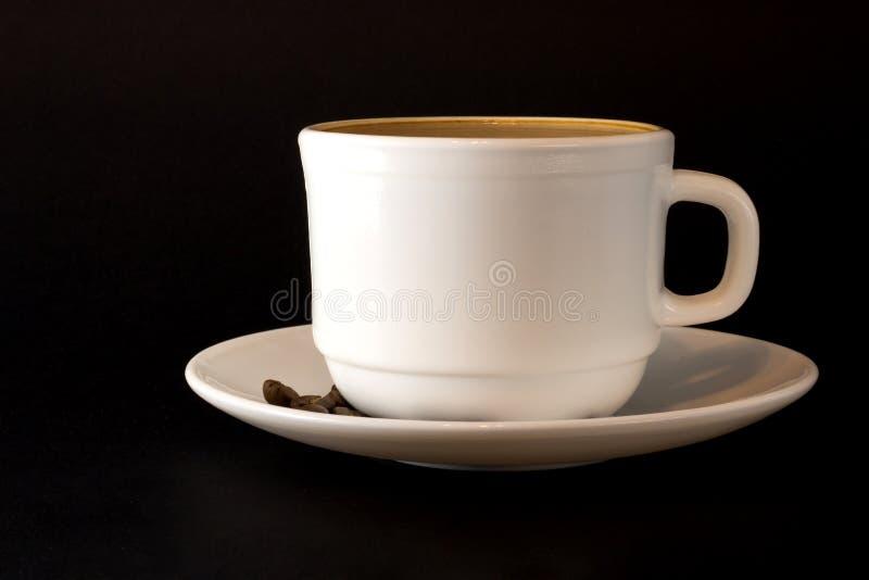 Witte kop van hete koffie royalty-vrije stock foto