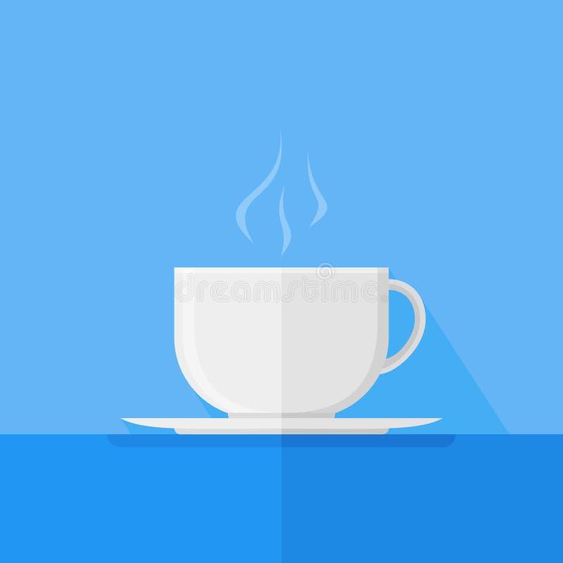 Witte kop van koffie of thee met vectorillustratie van de rook de vlakke stijl royalty-vrije illustratie