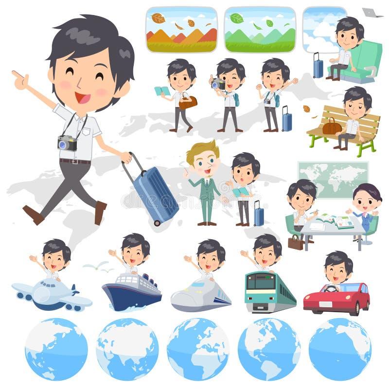 Witte korte sleeved mensenreis stock illustratie